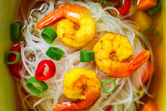 Soup with noodles and spicy shrimp Royalty Free Stock Images
