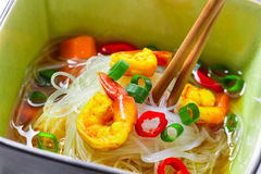 Soup with noodles and spicy shrimp Royalty Free Stock Photography
