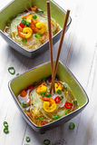 Soup with noodles and spicy shrimp stock photo