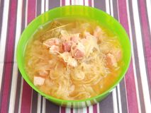 Soup Of Cabbage With Bacon Royalty Free Stock Photos