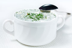 Soup okroshka (cold soup) Royalty Free Stock Images