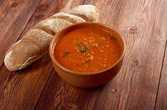 Soup or Pappa al Pomodoro. Italian tomato soup or Pappa al Pomodoro,farm-style Royalty Free Stock Images
