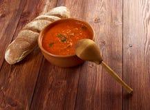 Soup or Pappa al Pomodoro. Italian tomato soup or Pappa al Pomodoro,farm-style Royalty Free Stock Photography