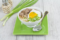 The soup of pasta and beef with egg Royalty Free Stock Photos