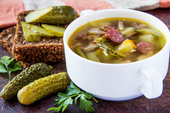 Soup with pickled cucumber and meat. Russian traditional soup with pickled cucumber and meat Stock Photography