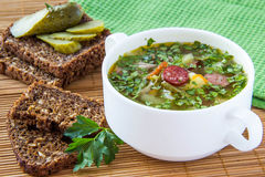 Soup with pickled cucumber and meat. Russian traditional soup with pickled cucumber and meat Stock Photos