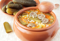 Soup with pickled cucumbers and beef kidneys Stock Photo