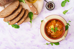 Soup with pickled cucumbers and pearl barley - rassolnik Royalty Free Stock Image