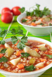 Soup with pickled cucumbers, tomato paste and barley Stock Image