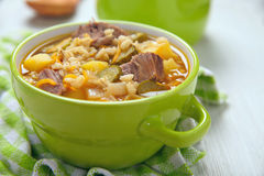 Soup with pickles and barley Royalty Free Stock Image