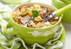 Soup with pickles and barley Royalty Free Stock Photography