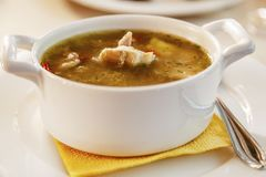 Soup plate, appetizing view, close-up royalty free stock photos