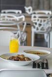 Soup plate and drik menu Royalty Free Stock Photos
