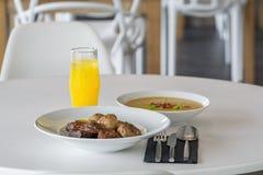 Soup plate and drik menu Royalty Free Stock Image