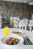 Soup plate and drik menu Stock Photography