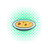 Soup plate icon, comics style. Soup plate icon in comics style on a white background Royalty Free Stock Photos