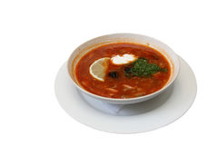 Soup plate with solyanka Royalty Free Stock Photo