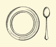 Soup plate and spoon. Cutlery vector retro illustration of a hand drawing Royalty Free Stock Photos