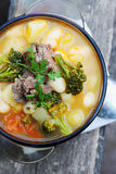 Soup of pork with broccoli Royalty Free Stock Photography