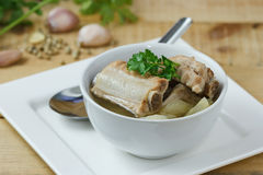 Soup with pork rips and pickled cabbage,select focus Stock Image