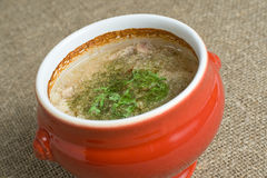 Soup in a pot Royalty Free Stock Image
