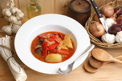 Soup with  potato and red paprika Stock Photography