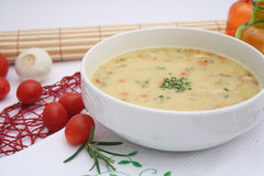 Soup of potatoes and vegetables. A fresh soup of potatoes and vegetables Royalty Free Stock Photo