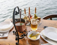 Soup with prawns, mussels, fish fillet in a pot. National cuisine Montenegro Stock Photos