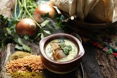 Soup prepared in stew royalty free stock photos