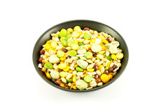 Soup Pulses in Small Black Bowl Stock Photo