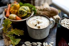 Soup with pumpkin and cream. Autumn meal. Delicious food for lunch. Soup with pumpkin and cream. Autumn meal. Delicious food for lunch royalty free stock images