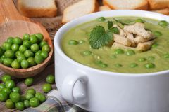 Soup puree of fresh green peas macro. Horizontal Royalty Free Stock Images