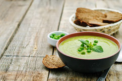 Soup puree of green peas Stock Photo