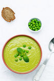 Soup puree of green peas Royalty Free Stock Photos