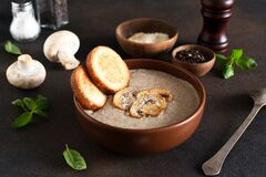 Soup puree with mushrooms and cheese