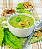 Soup puree with spinach and spoon on fabric Stock Photography
