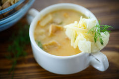 Soup pureed cauliflower. In a plate on the table Royalty Free Stock Photography