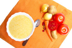 Soup pureed vegetables on orange napkin Stock Image