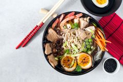 Soup Ramen. With shrimp, chicken and pork Stock Photography