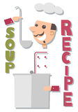 Soup recipe. Cute smiling chef tastes the soup. Soup recipe Stock Photography