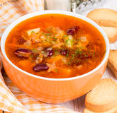 Soup with red beans and carrots Stock Image
