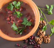 Soup with red beans and walnuts Royalty Free Stock Photos