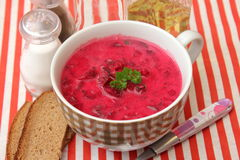 Soup of red beet roots Stock Photos