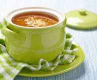 Soup with red lentil, pasta and vegetables Stock Image