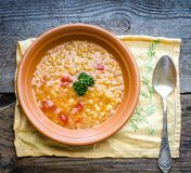 Soup with red lentils and bulgur Royalty Free Stock Photo