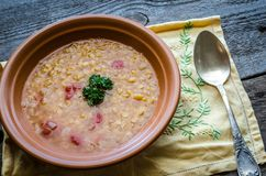 Soup with red lentils and bulgur Stock Photo