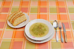 Soup on retro tablecloth Royalty Free Stock Image