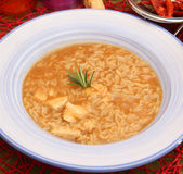 Soup of rice and chicken meat Stock Photos