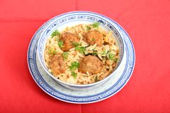 Soup of rice with meatballs Royalty Free Stock Image