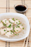 Soup with rice noodles and marinated tofu, close-up Royalty Free Stock Images